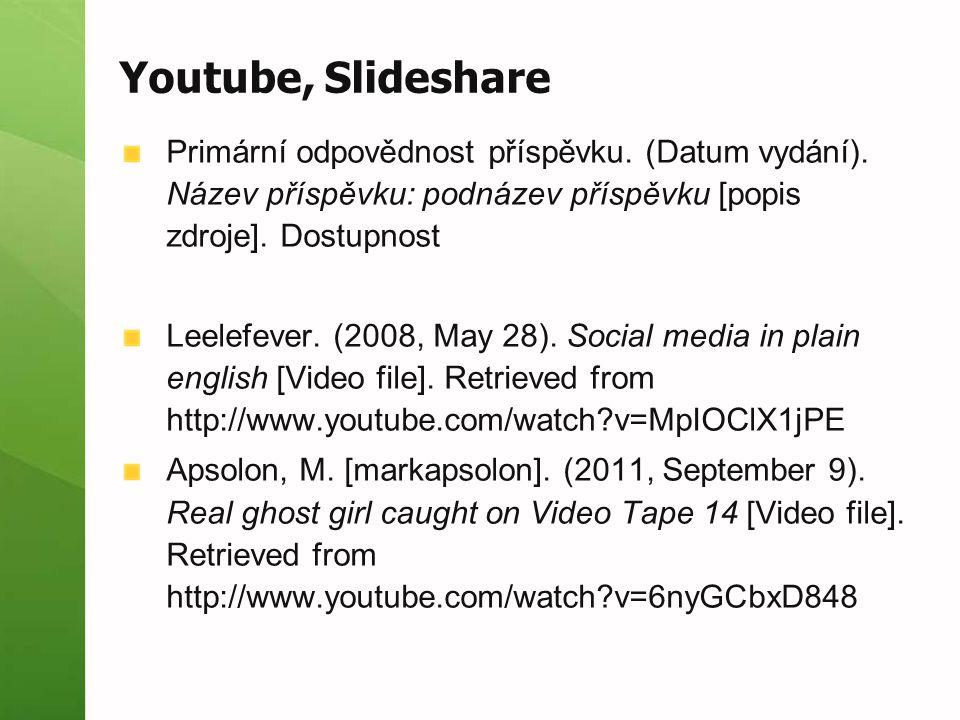 Youtube, Slideshare Primární odpovědnost příspěvku. (Datum vydání). Název příspěvku: podnázev příspěvku [popis zdroje]. Dostupnost.